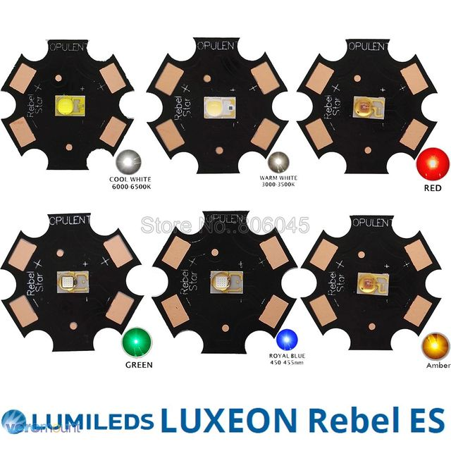 10x LUMILEDS Rebel ES 3W High Power LED Light Emitter Chip Diode, White Warm White Red Green Royal Blue Color on 20mm PCB