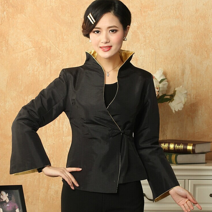 China first wholesale store New Fashion Black Female Silk Satin Outwear Chinese Traditional One Button Tang Suit Solid Color Slim Jacket Size S To XXXL T032