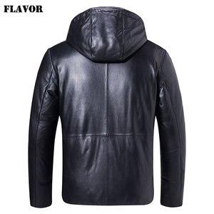 Image 2 - Kожаная куртка мужская толстовка на белом утином пуху FLAVOR, пуховик из натуральной шкуры ягненка, кожаное теплое пальто с капюшоном для зимы