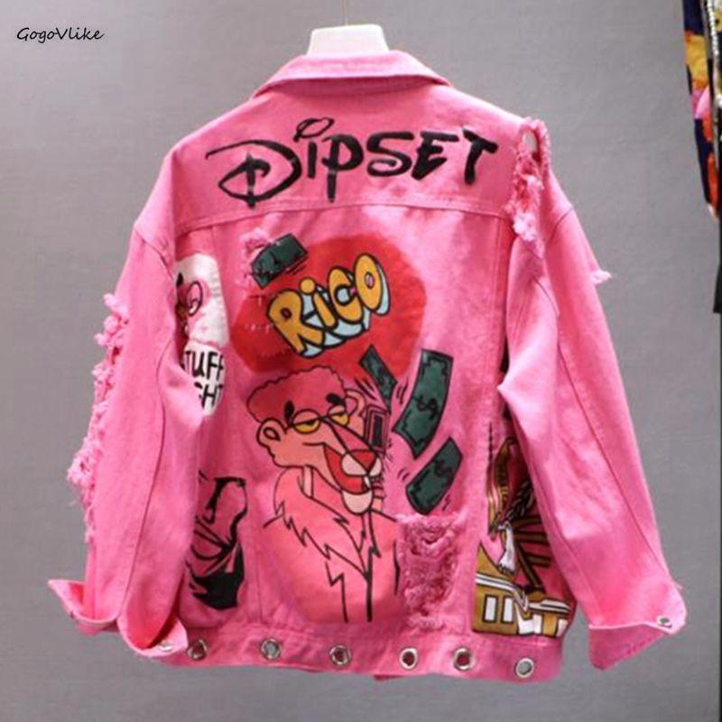 Harajuku Pink/Yellow Denim   Jacket   Women Graffiti Ripped Holes Jeans   Jackets   2019 New Luxury Students   Basic   Coats Outfit LT564S50