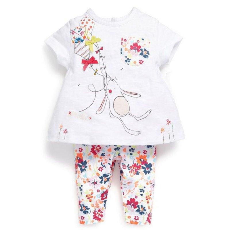 Vaenait Baby Toddler Boys Girls Pajamas Bunny Sleepwear T-shirt Tops floral leggings Suit  P1