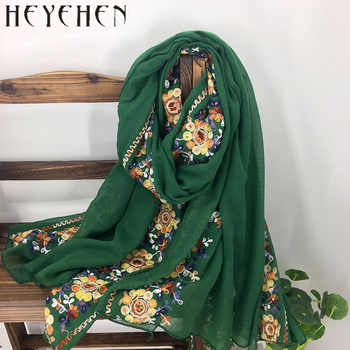 Japanese Embroidered Women Bandana Winter Cotton Polyester Scarf Long Shawl  Muslim Ladies Hijab HY08 - DISCOUNT ITEM  38% OFF All Category