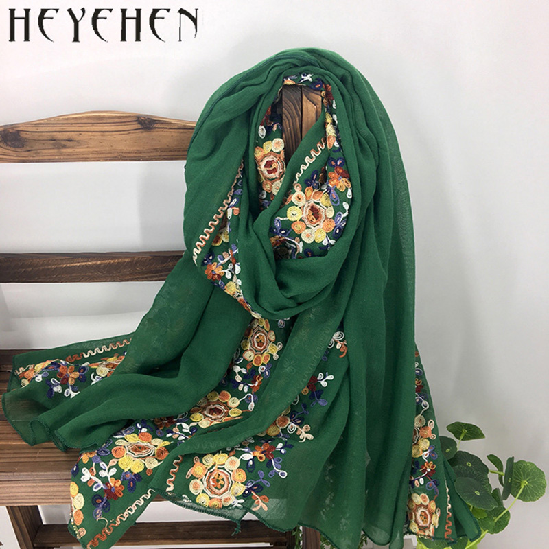 Japanese Embroidered Women Bandana Winter Cotton Polyester Scarf Long Shawl Muslim Ladies Hijab HY08