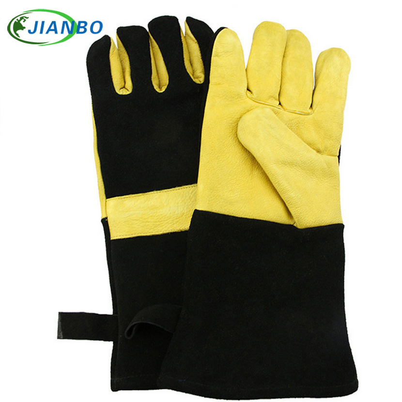 все цены на Barbecue BBQ Yellow With Black Leather Gloves Insulated Kitchen Microwave Ovens Outdoor Activities Cooking Protection Gloves онлайн