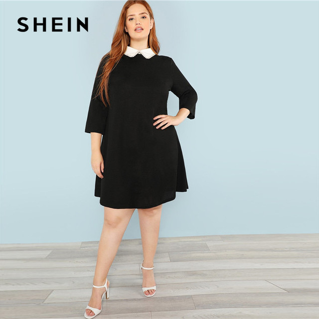SHEIN Plus Size Black Cute Peter pan Collar Beading Pearl Embellished A-Line Loose Dresses Women Spring Autumn Knee-Length Dress 3