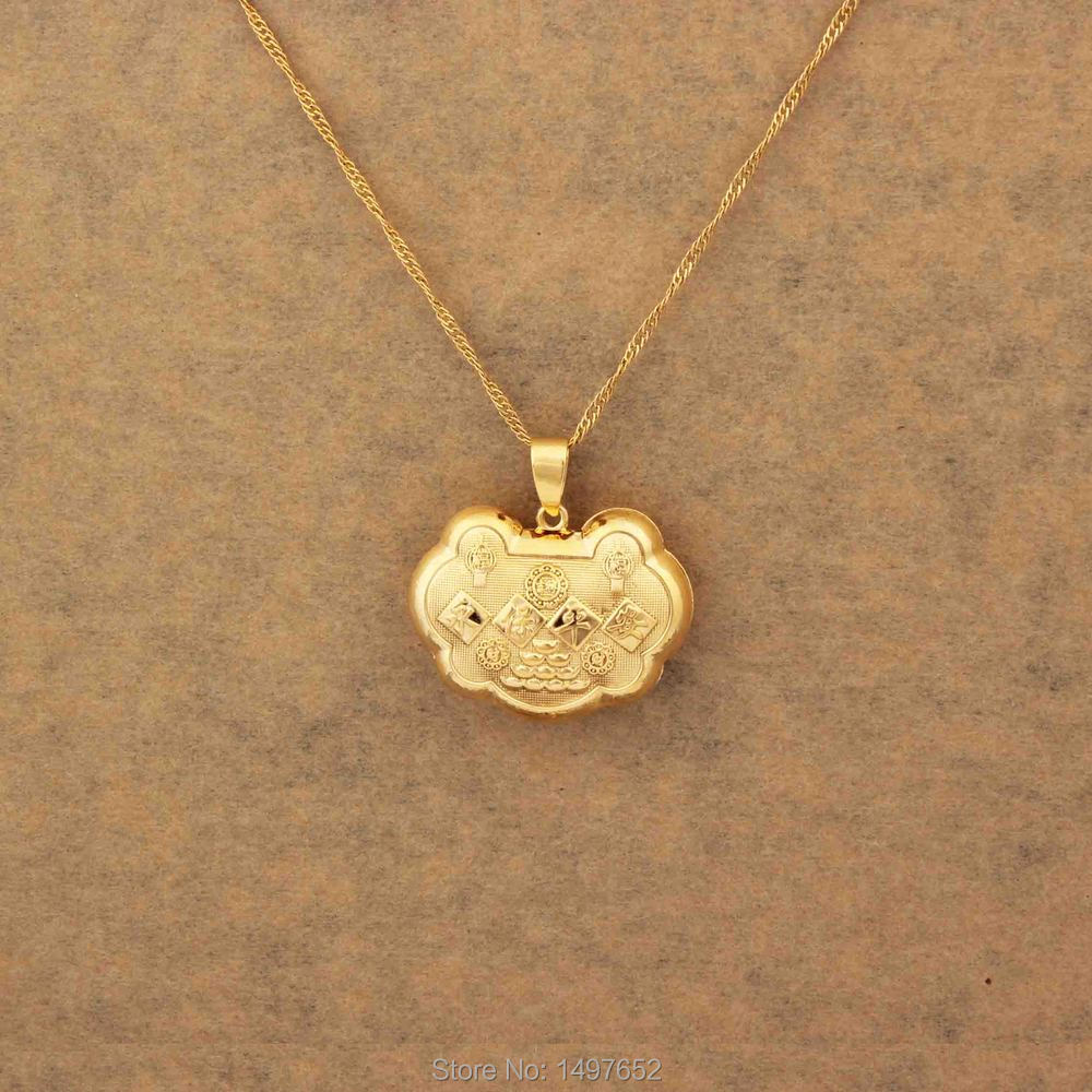 Lucky Gold Filled Pendant Necklace Buddha Religious Jewelry For
