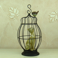 Satirizing A Cat In The Birdcage Model Statue Animal Art Craft Embellishment Accessories Furnishing For Room