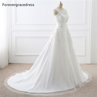 Forevergracedress Elegant Wedding Dress A Line Detachable Train Lace Appliques Bridal Gown Plus Size Custom Made