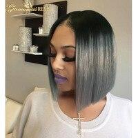 Прямые парики человеческих волос с волосы младенца Glueless Синтетические волосы на кружеве парики Реми короткий боб для черный Для женщин Ombre