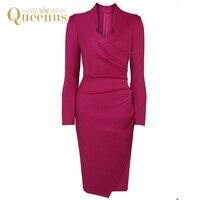 Queenus 2017 סתיו חורף נשים שמלה באורך הברך צוואר V נשים שרוול ארוך קפל פוקסיה אלגנטי משרד ליידי עבודת בנות שמלות