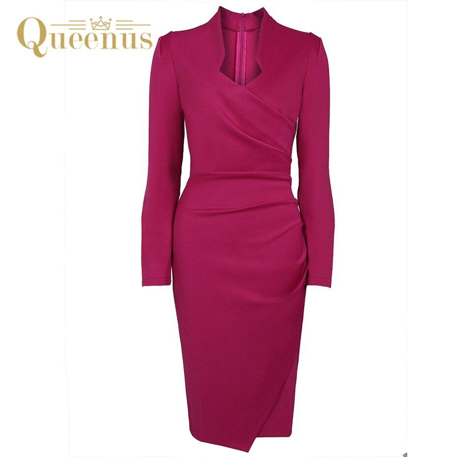 Queenus 2017 Autumn Winter Women <font><b>Dress</b></font> V Neck Knee Length Long Sleeve Pleat Office Lady Work <font><b>Dress</b></font> <font><b>Fuchsia</b></font> Elegant Women <font><b>Dresses</b></font>