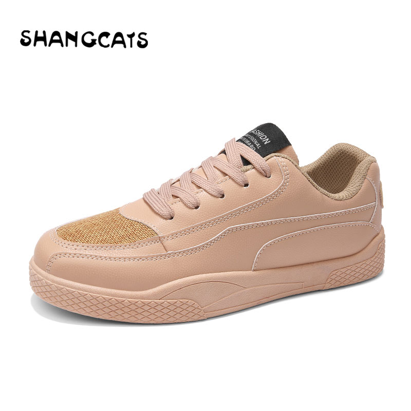 Casual Shoes Men Vulcanize Shoes Champagne Simple Style Fashion Sneakers For Men Lace-up Leather Man Shoe 2018 New Spring/Autumn hot sale casual shoes men spring autumn waterproof solid lace up man fashion flat with pu leather outdoors shoe