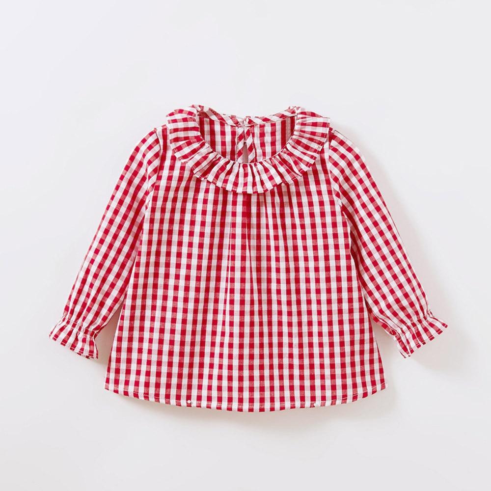 Spring Baby Girls Blouses Kids Peter Pan Collar Cotton Shirt Girls Long Sleeve Plaid shirt Clothes Girl Tops 3 Designs