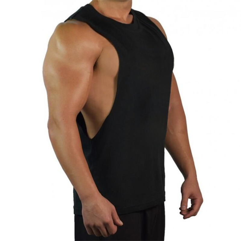 New Blank Sleeveless shirt Muscle Cut Workout Shirt Bodybuilding   Tank     Top   Man Fitness Clothing cotton open sides vest