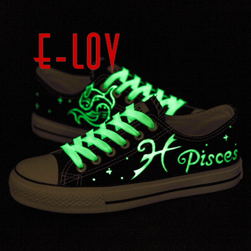 E-LOV Pisces Hand-Painted Constellation Saittarius Luminous galaxy Shoes Canvas Shoes Noctilucence Personalized Casual Shoes e lov fashion luminous constellation canvas shoes low top sagittarius horoscope graffiti casual walking shoes for women