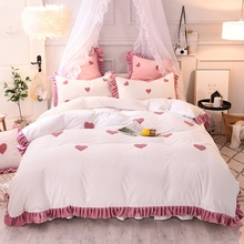 цена на White Pink Love Embroidery Girl Fleece Fabric Bedding Set Soft Flannel Ruffles Duvet Cover Bed Skirt Bed Sheet Pillowcases 4pcs