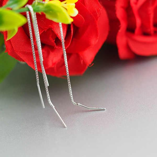 AOMU 1 זוג נשים כסף מצופה סופר ארוך שרשרת Drop עגילי קוקטייל ליניארי להתנדנד טאסל עגילים למסיבה תכשיטי 9 -18 cm