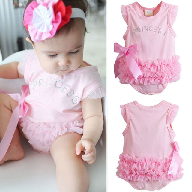 c64c1e379bf Cute Baby Kids Girls Princess Pink Lace Triangle Romper Jumpsuit Babygrows newborn  baby girl clothes baby rompers 0-24M