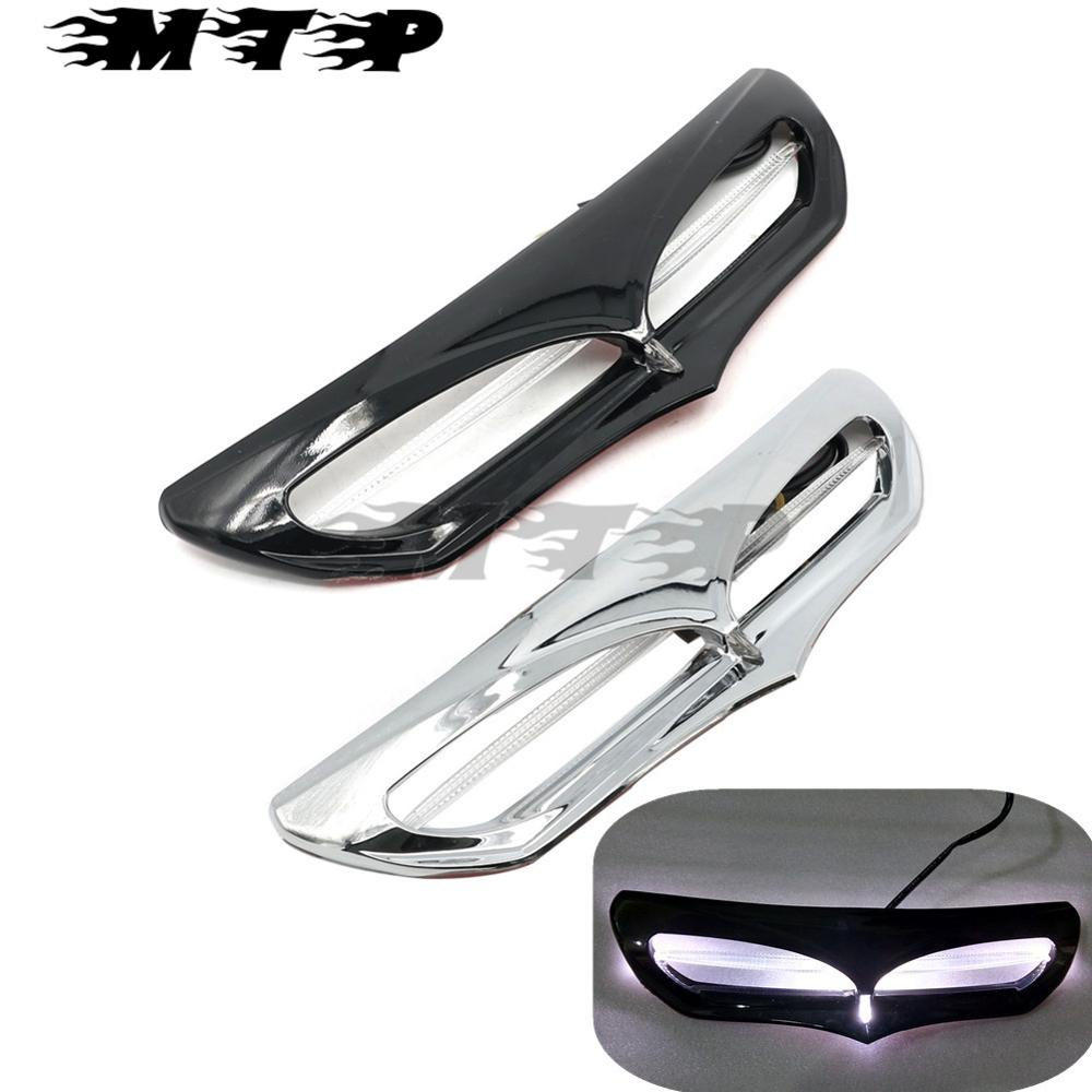 Fairing Vent Accent Trim Slipstream LED Light for Harley Electra Glide Ultra Classic Low FLHTCUL 15-16 Street Glide FLHX 14-17  fairing vent cover abs chrome batwing fairing vent trim with led accent lights cover for harley street glide efi flhx 14 16