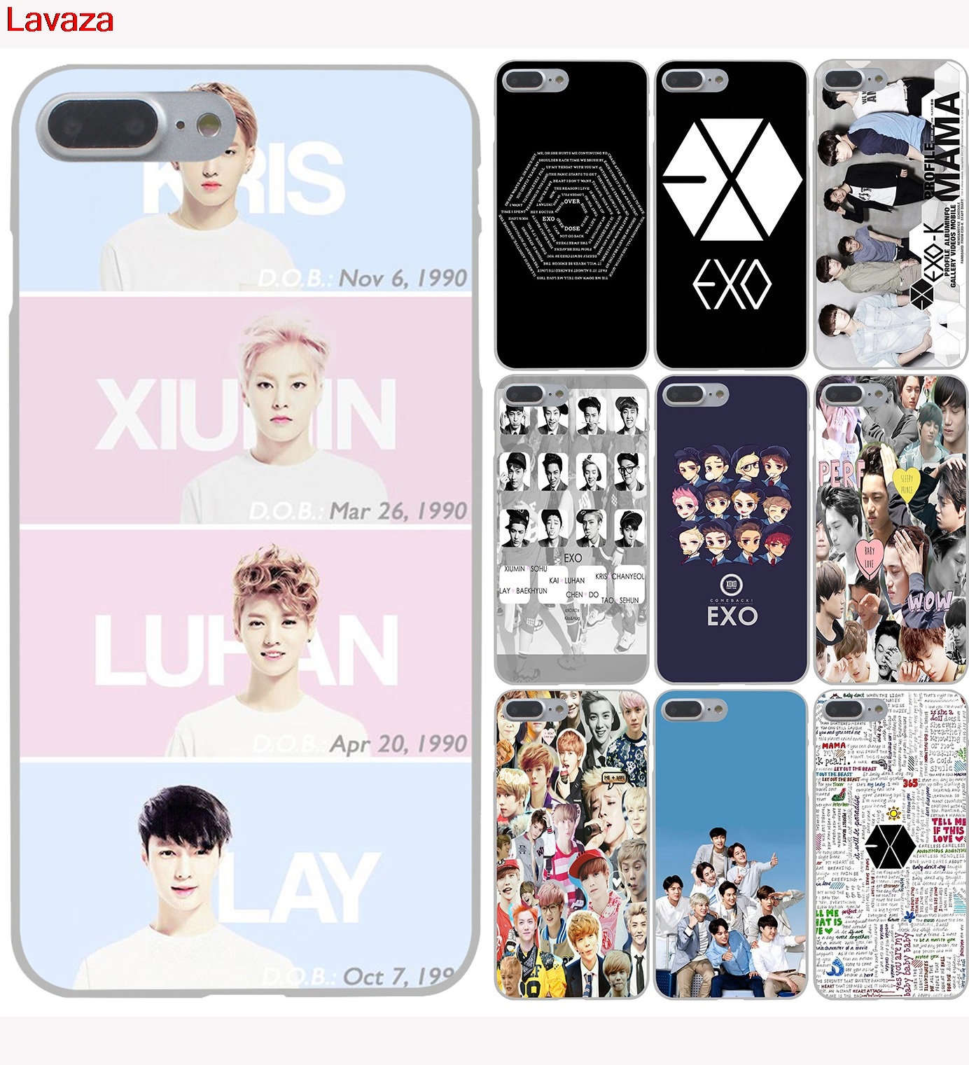 Lavaza Exo Kpop band BTS boys Hard Phone Case for Apple iPhone 6 6s 7 8 Plus 4 4S 5 5S SE 5C Cover for iPhone XS Max XR Cases in Half wrapped Case