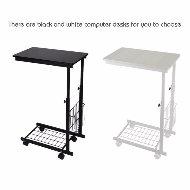 Height Adjustable Desk with Detachable Wheels Sofa Side Coffee Table Mobile Side Black Willow Tables Wholesale