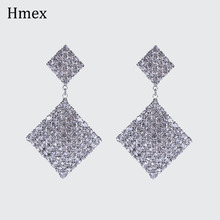 Brand design long rhombus Rhinestone Statement Earrings Big Crystal Earring For Women Large Circle Earing Luxury Party jewelry