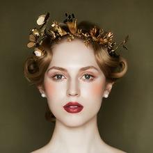 Royal Europa libélula mariposa tiara corona de oro barroco reina joyería hairband ornamentos del pelo coronas festival accesorios