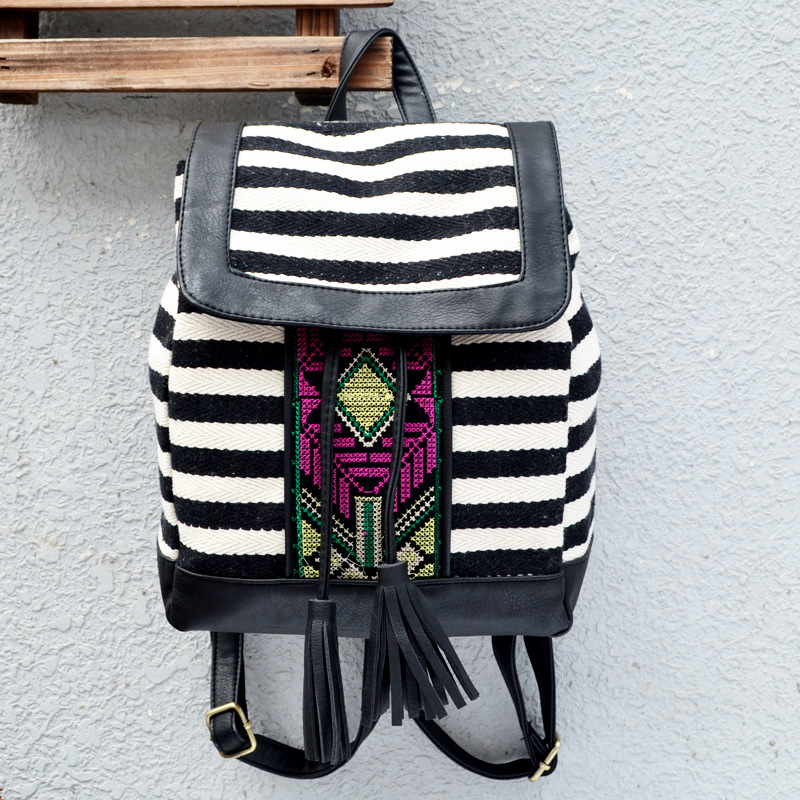 Women Embroidered Bohemian Striped backpack ladies bags canvas Tassel shoulder bag Boho Fabric Bag national ethnic Bags in Backpacks from Luggage Bags