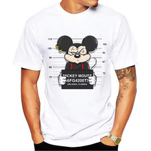 New mickey print tees mouse t-shirt men tops hip hop casual funny dog cartoon tshirt homme comfort cotton t shirt Size S-5XL(China)
