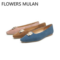 Blue Pink Tan Color Suede Women Flats Shoes Pointed Toe Soft Rubber Heels Shoes Woman Metal Buckle Zapatos De Mujer 2019 New