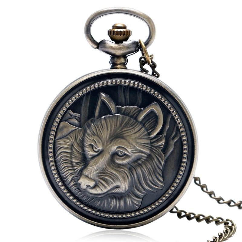 Бронзові моделі Стімпанк вовк кварцу чоловіків хлопчик кишенькові годинники ланцюга кулон годинник