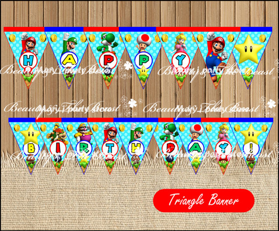 Mario Bros Banner Baby Shower Birthday Party Decorations Kids Super Event Supplies Printable