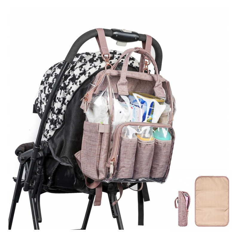 4pc/set 2019 PVC Transparent Nappy Bag Summer Waterproof Diaper Bag Baby Care Travel Backpack Maternity Bag