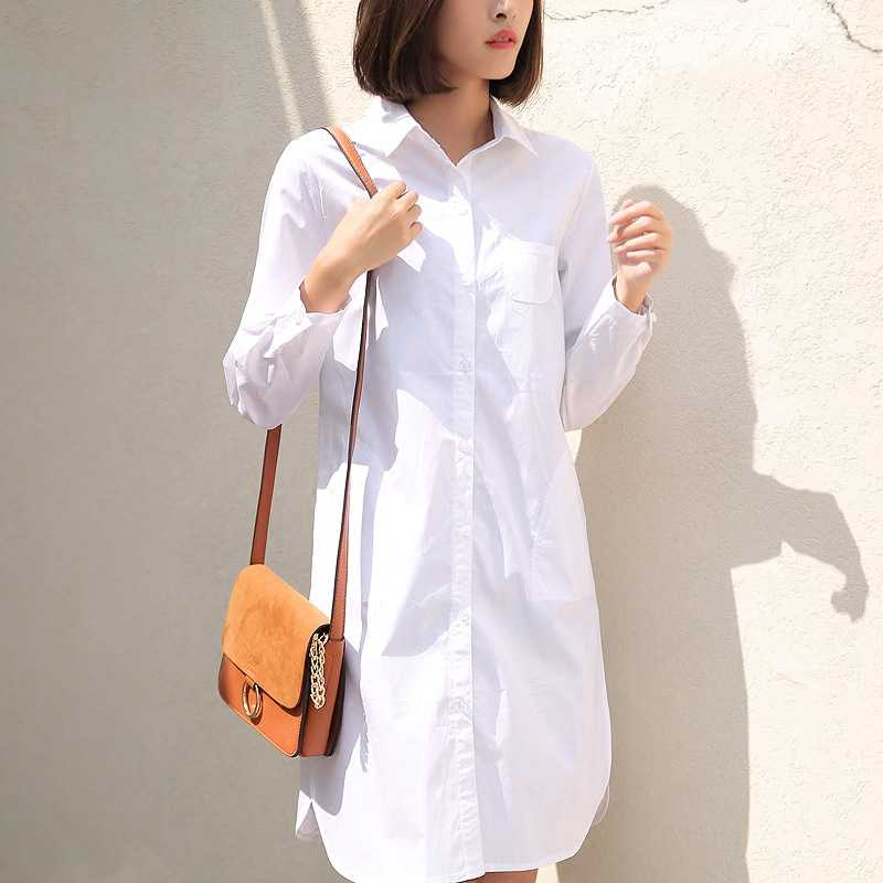 2 Colors S-4XL Large Size Long Shirts For Women BF Boyfriend Style Brief Collar Loose Tops Fashion Casual Oversize Blouse