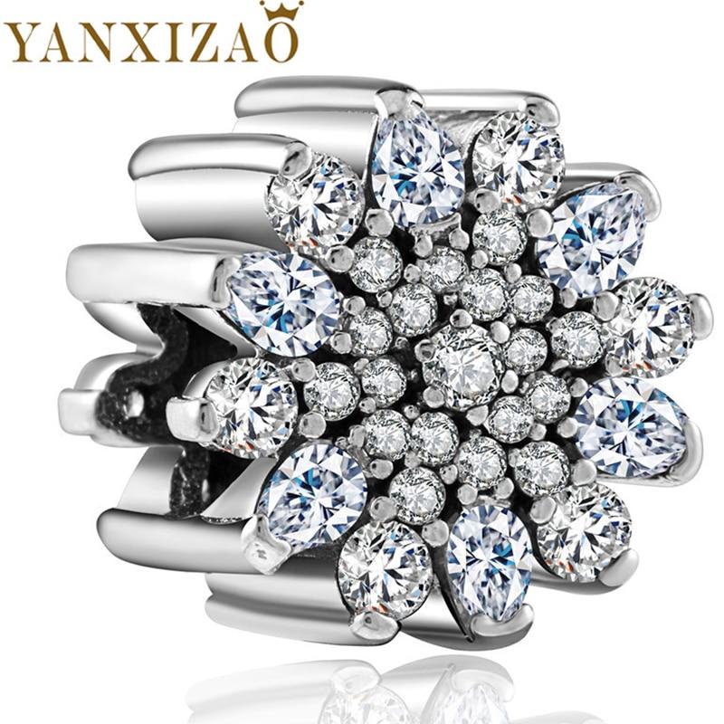 Yanxizao 2018 New Silver 925 Elegant CZ Zircon Charm Beads Fit Pandora Bracelet DIY Jewelry Originals Lady Luxurious Beads GW196
