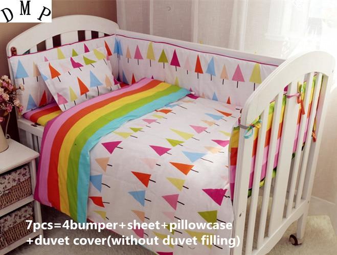 2017! 6/7PCS Baby Crib Bed Linen Cotton Baby Bedding Set Baby Cot Girls Bedclothes Duvet Cover,120*60/120*70cm promotion 6 7pcs pink baby bedding set character crib bedding set 100% cotton baby cot bed 120 60 120 70cm