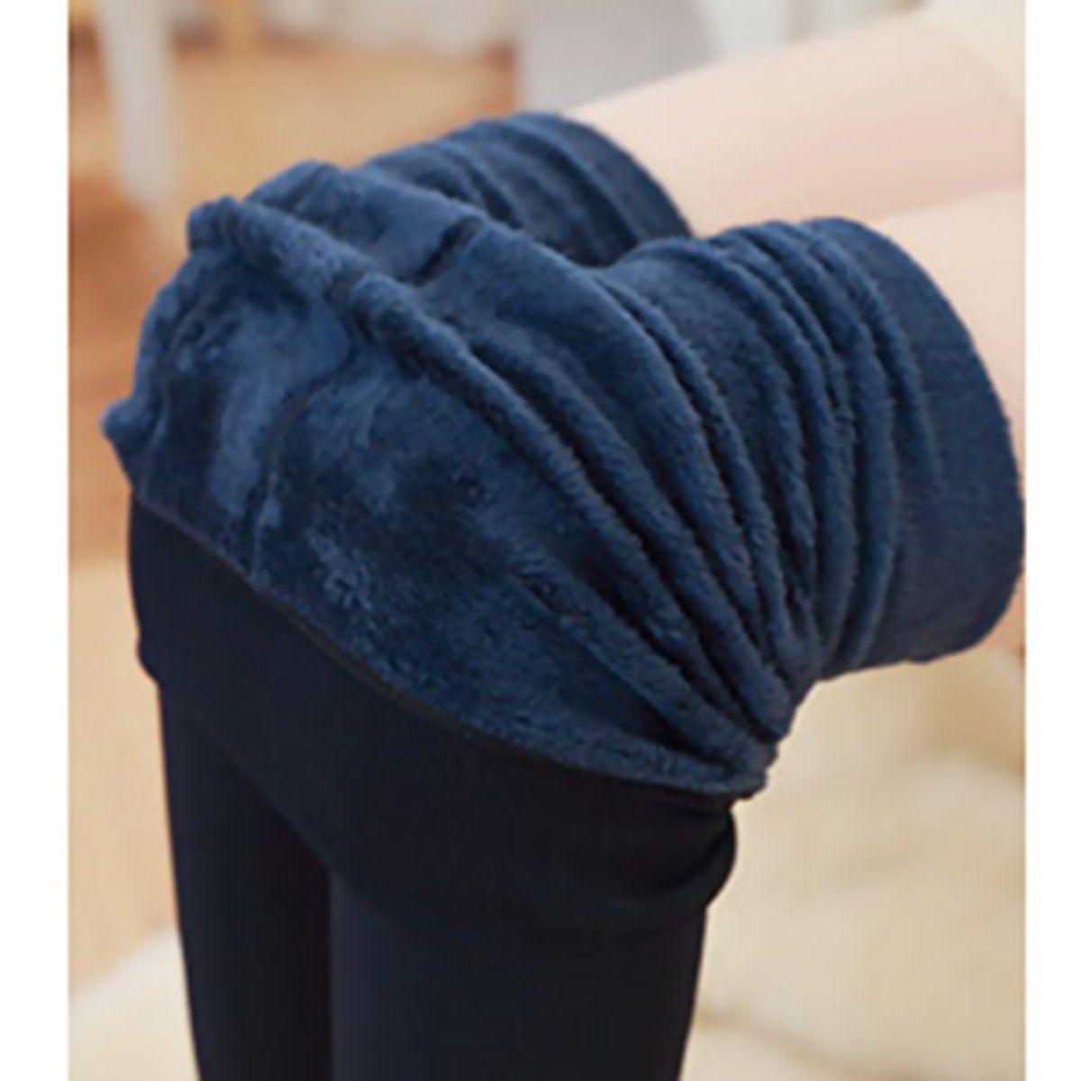 Женские однотонные зимние плотные теплые флисовые утепленные эластичные леггинсы Tihgts - Цвет: nave blue