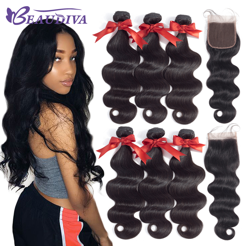 BEAUDIVA Brazilian Hair Bundles With Closure Body Wave Bundles With Closure Human Hair Extension 3 or4