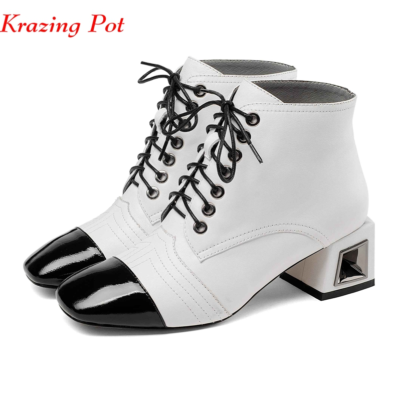 Krazing Pot new full grain leather boots style lace up mixed color dailywear all-match fretwork hollow med heels ankle boots L21Krazing Pot new full grain leather boots style lace up mixed color dailywear all-match fretwork hollow med heels ankle boots L21