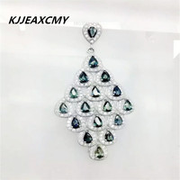 KJJEAXCMY boutique jewelry,Sapphire classic 925 Sterling Silver Pendant Diamond Platinum Plated Sterling Silver female