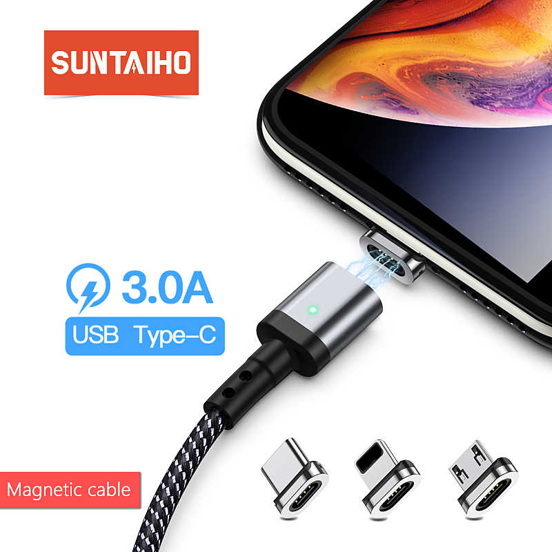 Suntaiho Magnetic Charger Micro USB C Cable Type C for Xiaomi PLAY note7 Fast Charging for Samsung S10 Phone iOS 12 For iphone