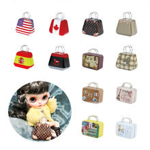1PCS 1/6 Scale Dollhouse Miniature Metal Trunk Bag Suitcase for Blyth, BJD, Barbies, Momoko, Pullip Doll Bag Accessories(China)