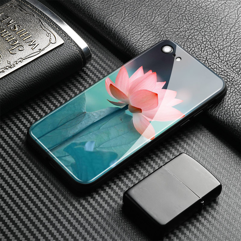 Lotus flower Pattern painting Tempered Glass Soft Silicone Phone Case Shell Cover For Apple iPhone 6 6s 7 8 Plus X XR XS MAX