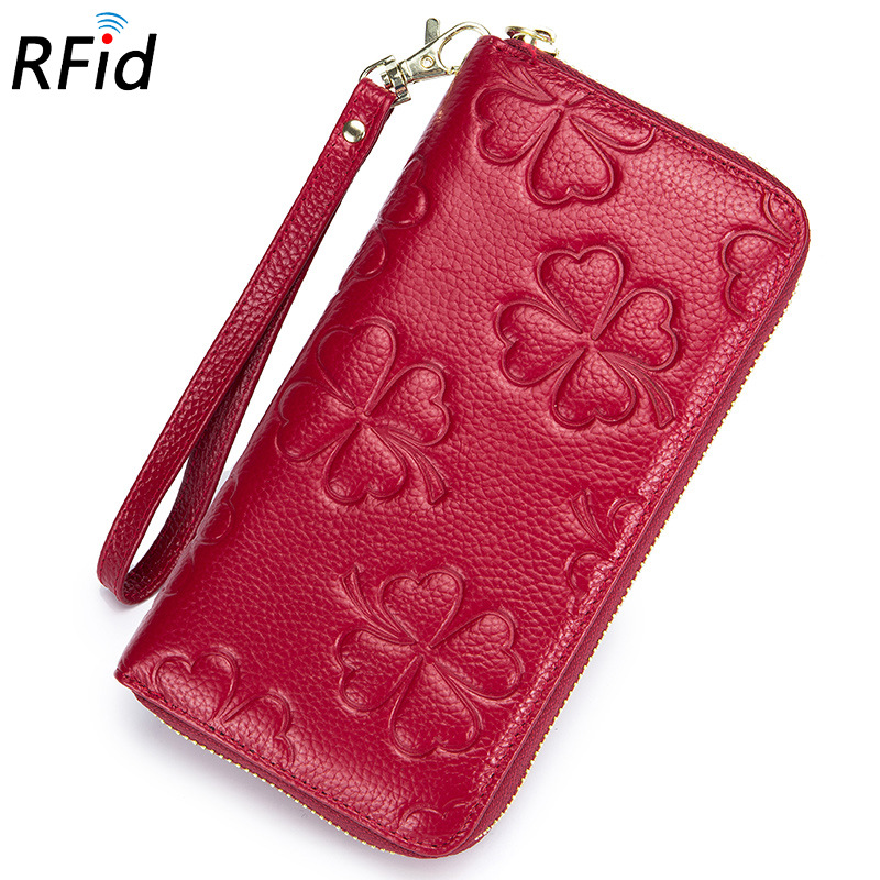 New Fashion Flower Genuine Leather Women Long Wallets High Quality Female Luxury Brand Clutch Girl Ladies Gift Cash Purse Rfid