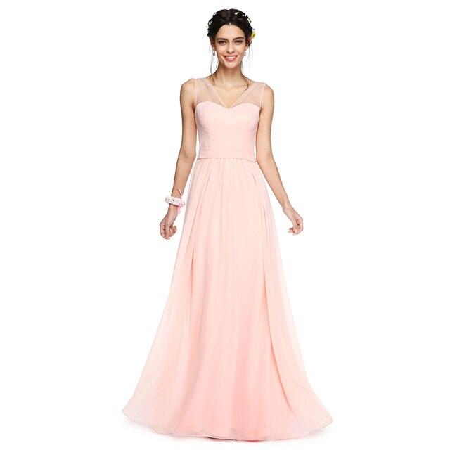 LAN TING BRIDE A Line V neck Backless Bridesmaid Dress Floor Length ...