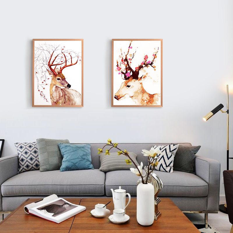 Creative Arts  Deer LED Wall Lamp Modern Fashion Bedside Light Sconce Fixtures Kids Room Stairs Bar Cafe Indoor Home Lighting 12w fashion arts painting pvc led wall lamp modern bedside light wall sconces fixtures for stairs bar cafe indoor home lighting