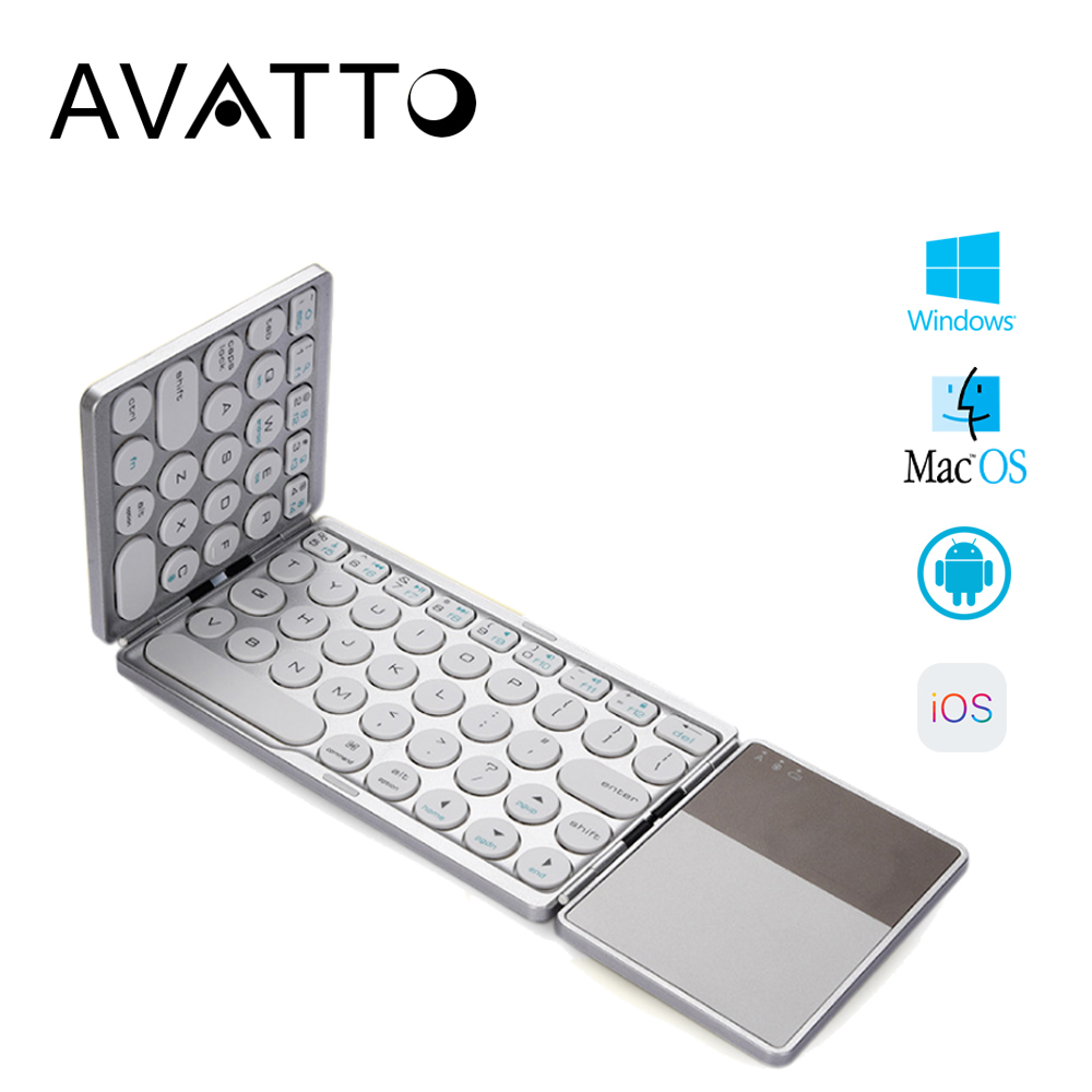[AVATTO] Bluetooth Wireless Folding Keyboard With Touchpad , Foldable BT Mini Keyboard For Phone Tablet Laptop PC Ipad Iphone
