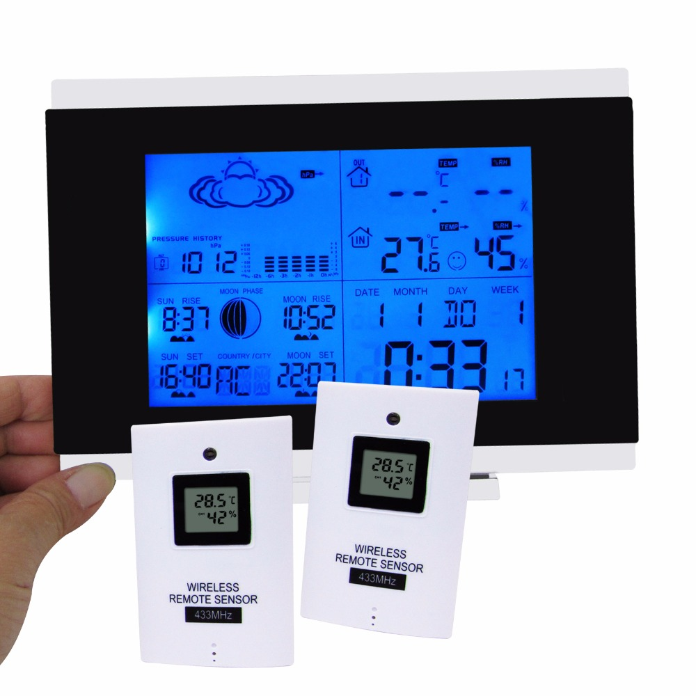 Outdoor Thermometer Weather Station Wireless Sensor Humidity Display Built in Barometer DST and DCF77 5 Weather Forecast