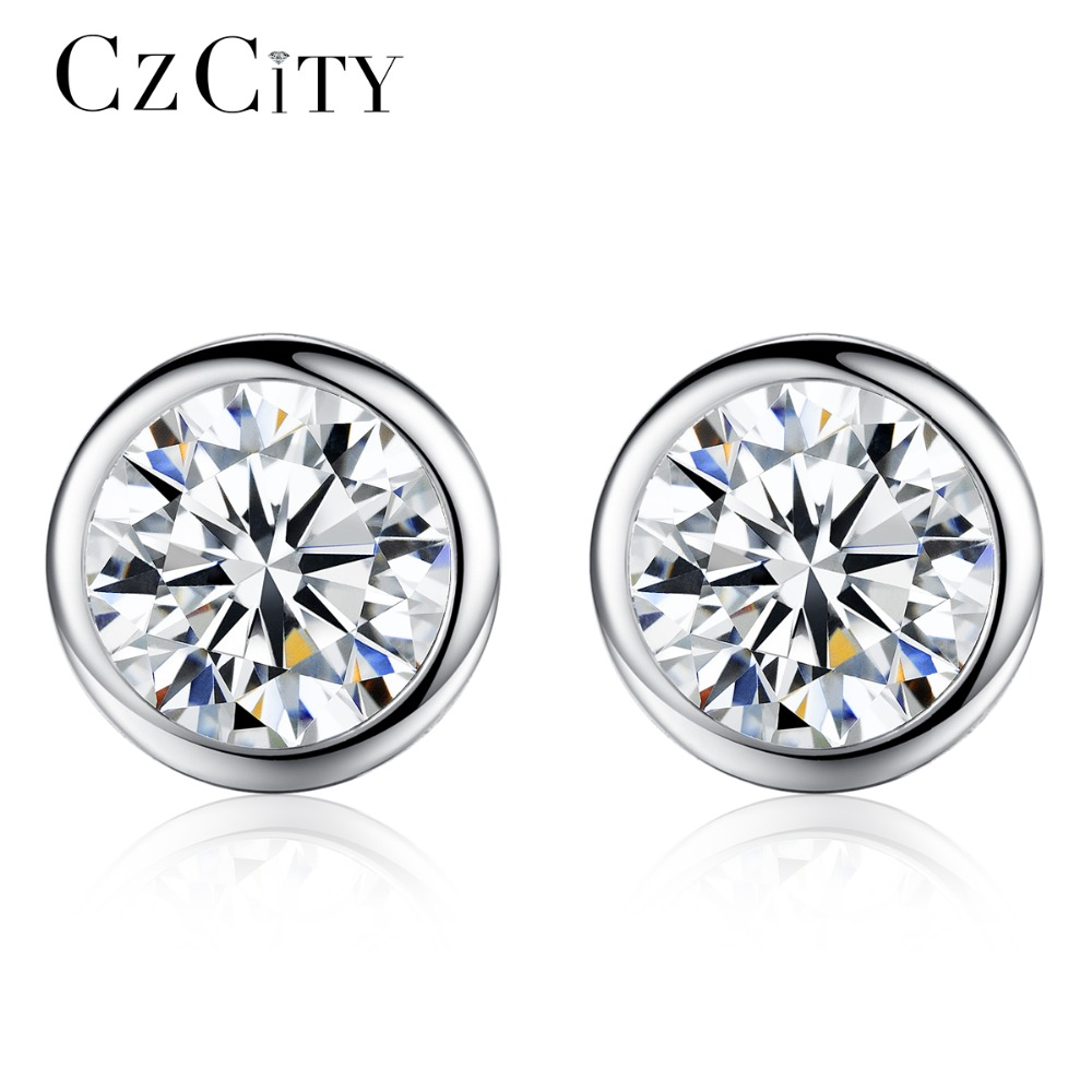 CZCITY Single Round CZ Stone Stering Silver Earrings For Women Shining Classic Cubic Zirconia 925 Silver Ear Stud Party Jewelry