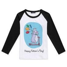 New Arrival Boys T shirt Raglan Long Sleeve Girls Tops Cotton Children Clothing Happy Fathers Day Print Kids T-Shirt Child Tees цена 2017